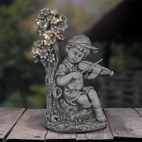 Exhart Solar Boy Playing Violin Under A Tree Statue | Boy Sculpted