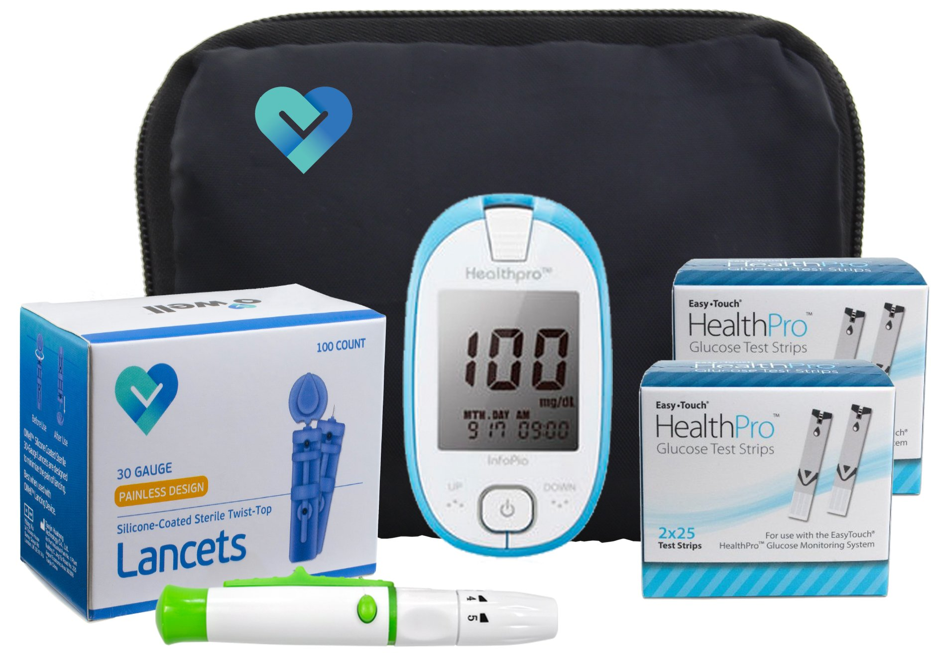 Easy Touch Health Pro Diabetes Testing Kit, 100 Count | Easy Touch Health Pro Meter, 100 Health Pro Blood Glucose Test Strips, 100 Lancets, Lancing Device, Manuals, Log Books & Carry Case