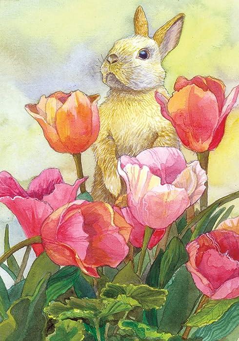 Toland Home Garden Bunny Tulip 12.5 x 18 Inch Decorative Spring Easter Cute Rabbit Flower Garden Flag