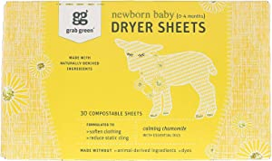 GRAB GREEN CALMING CHAMOMILE NEWBORN DRYER SHEETS 30 COMPOSTABLE SHEETS