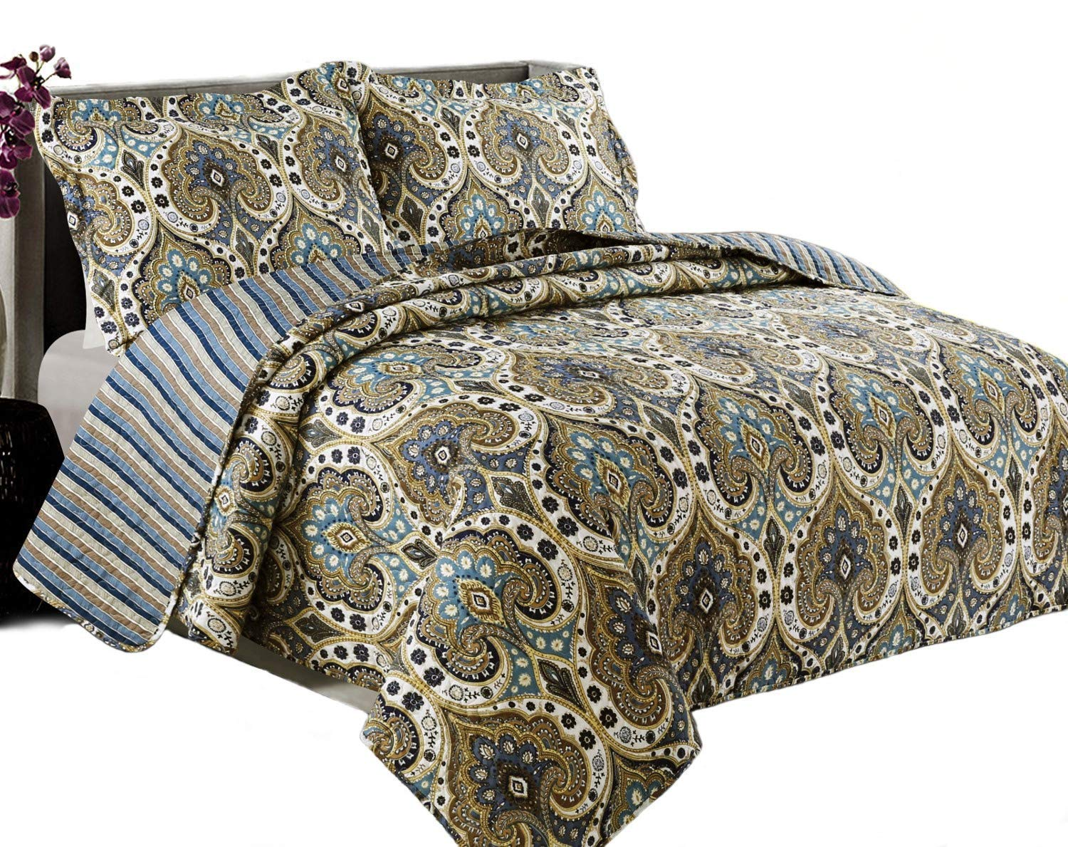 Coast to Coast Living Quilt Sets, Luxurious 3pc Bedspreads- Cotton Rich Soft (Sonoma, Queen)
