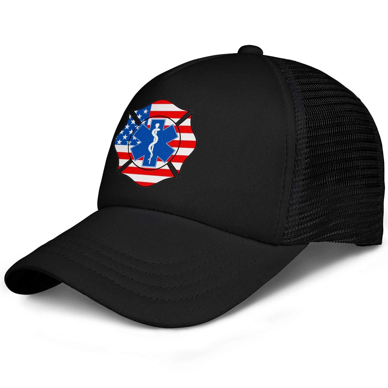 BertonMonroe Maltese Cross Star of Life USA Flag Classic Adjustable Baseball Caps Printed Trucker Cap