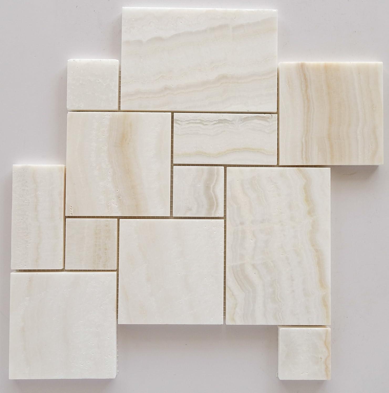White Onyx OPUS Mini Pattern Mosaic Tile, Vein-Cut, Polished ...