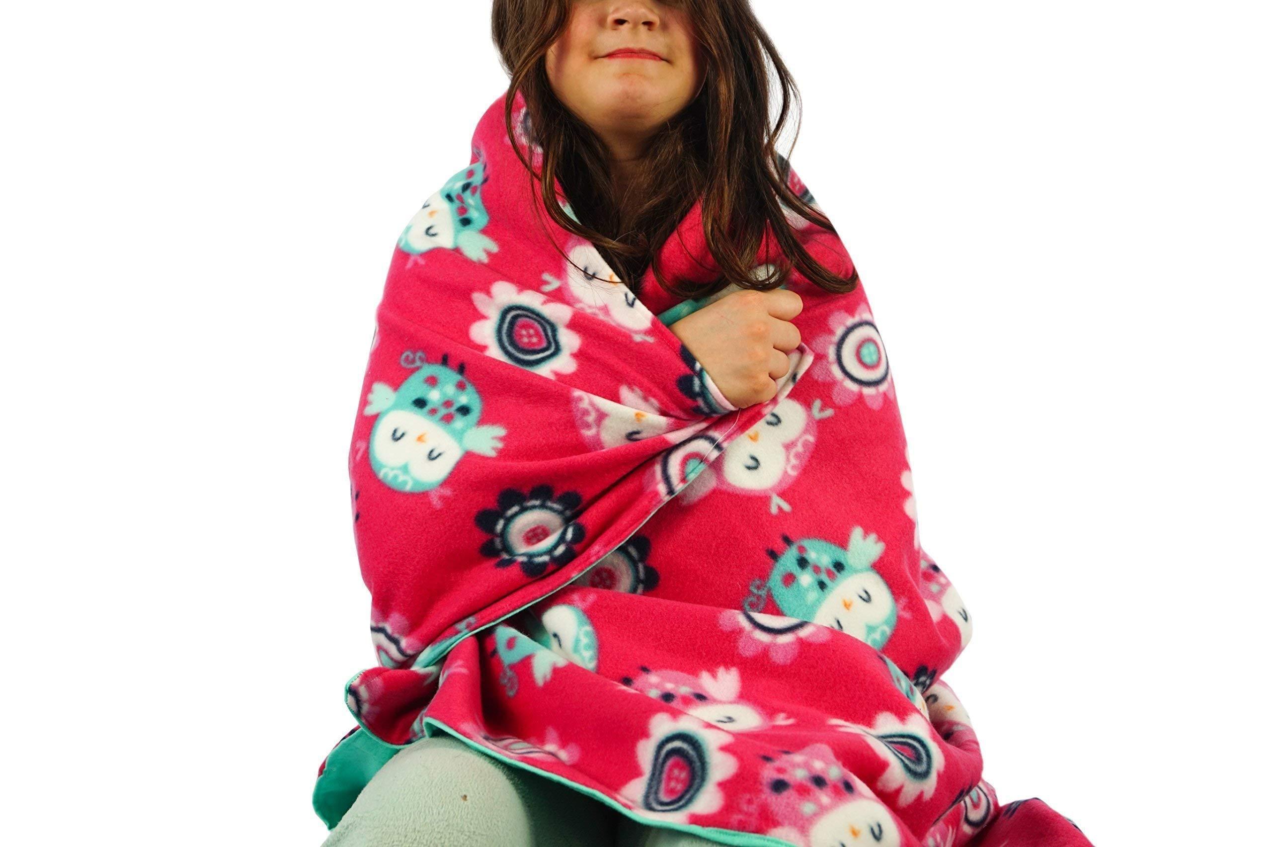 Fleece throw blanket- Baby owls