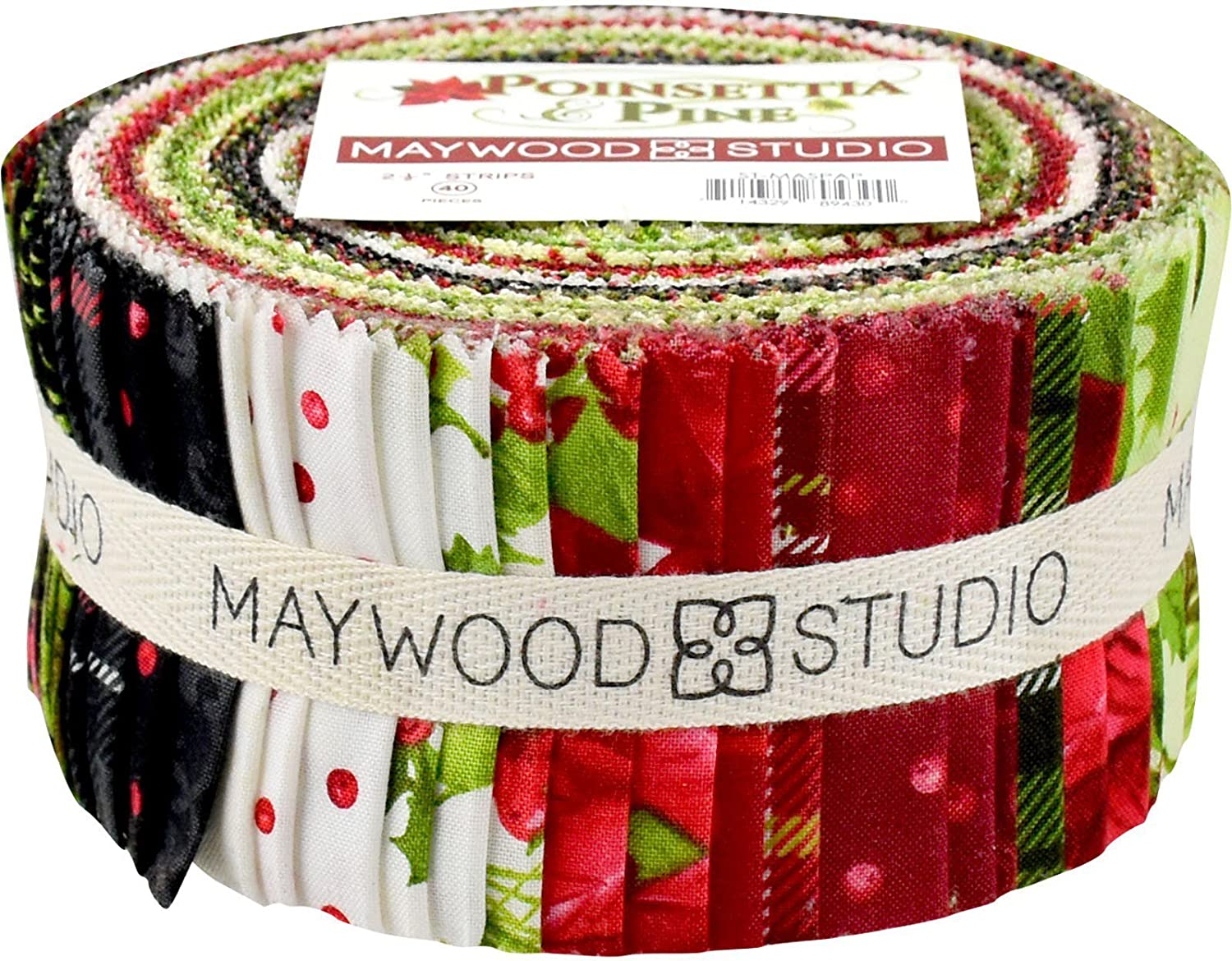 Poinsettia & Pine Strips 40 2.5-inch Strips Jelly Roll Maywood Studio