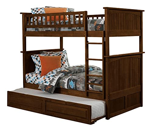 Atlantic Furniture Nantucket Bunk Twin Raised Panel Trundle Bed, Twin Twin, Walnut