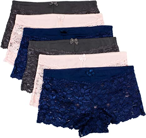 Barbras 6 Pack of Womens Regular /& Plus Size Lace Boyshort Panties
