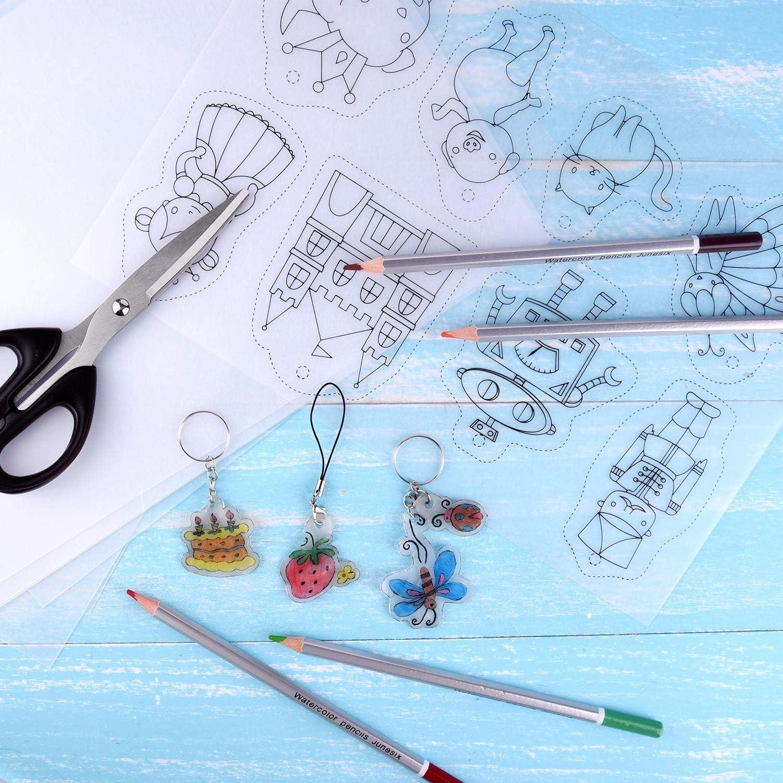 Schl/üsselanh/ängerStifte f/ür Kinder Craft TUPARKA 60 St/ück Schrumpfplastikblatt Satz Locher W/ärme Shrinky Bl/ätter Creative Pack 10 F/ügen Blank Shrink FilmPapier und 5 Shrinky Art Papier mit Mustern