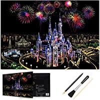 HOMEWINS Scratch Paper 405 x 285mm World Famous Landmarks Scratch Nightscapes Black Coated Colorful City DIY Art with Supporting Specialized Tool (Fantasy Castle)