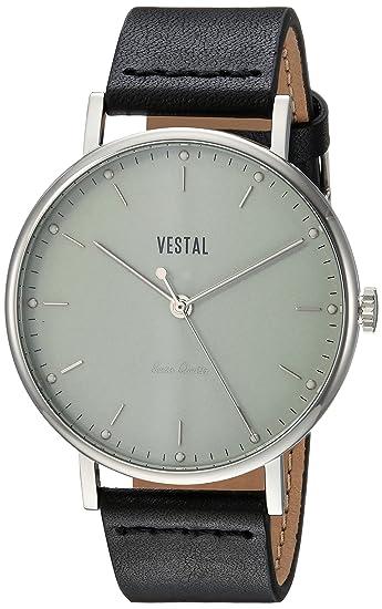 Vestal Sophisticate Swiss Quartz reloj vestido de cuero y acero inoxidable, Color negro
