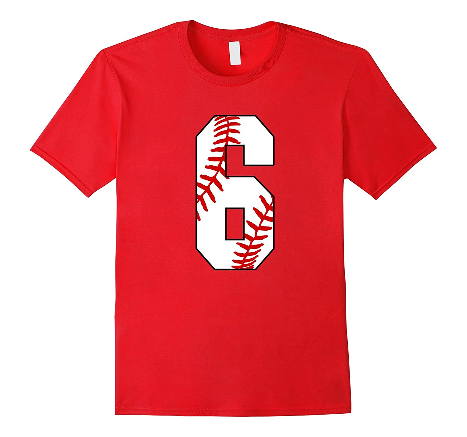 #6 Baseball 6th Birthday Boy Six Years Baseball Mom T-shirt-TH