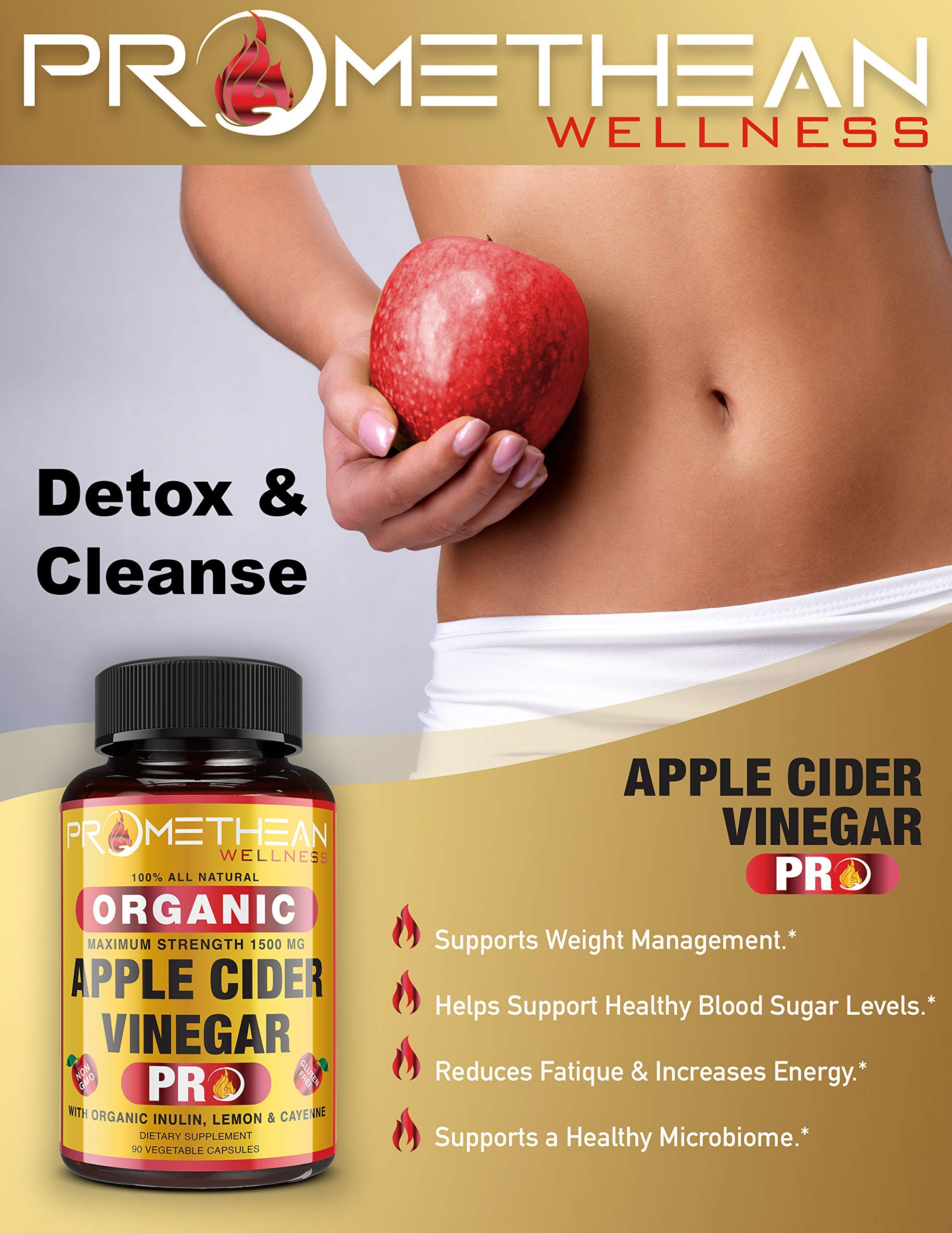 Organic Apple Cider Vinegar Capsules ACV PRO Diet Pills Detox Cleanse for Weight Loss Raw Unfiltered With Mother Powder Supplements Tablets Vitamins Cayenne Pepper Inulin Prebiotics Lemon 1500mg 90 ct by Promethean Wellness LLC (Image #3)