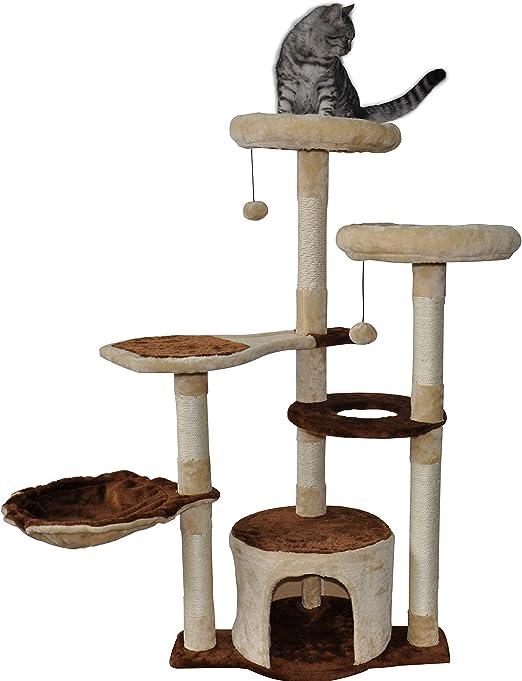 TINWEIUK 05A Árbol rascador para Gatos, Centro de Actividades para Gatos, Muebles, Postes rascadores: Amazon.es: Productos para mascotas