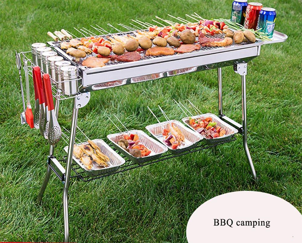 Grillofen Portable Zusammenklappbar Stärken Edelstahl Gegrilltes Netz Durable BBQ / Camping Lange Reise Notwendig (8 Grill Zubehör)