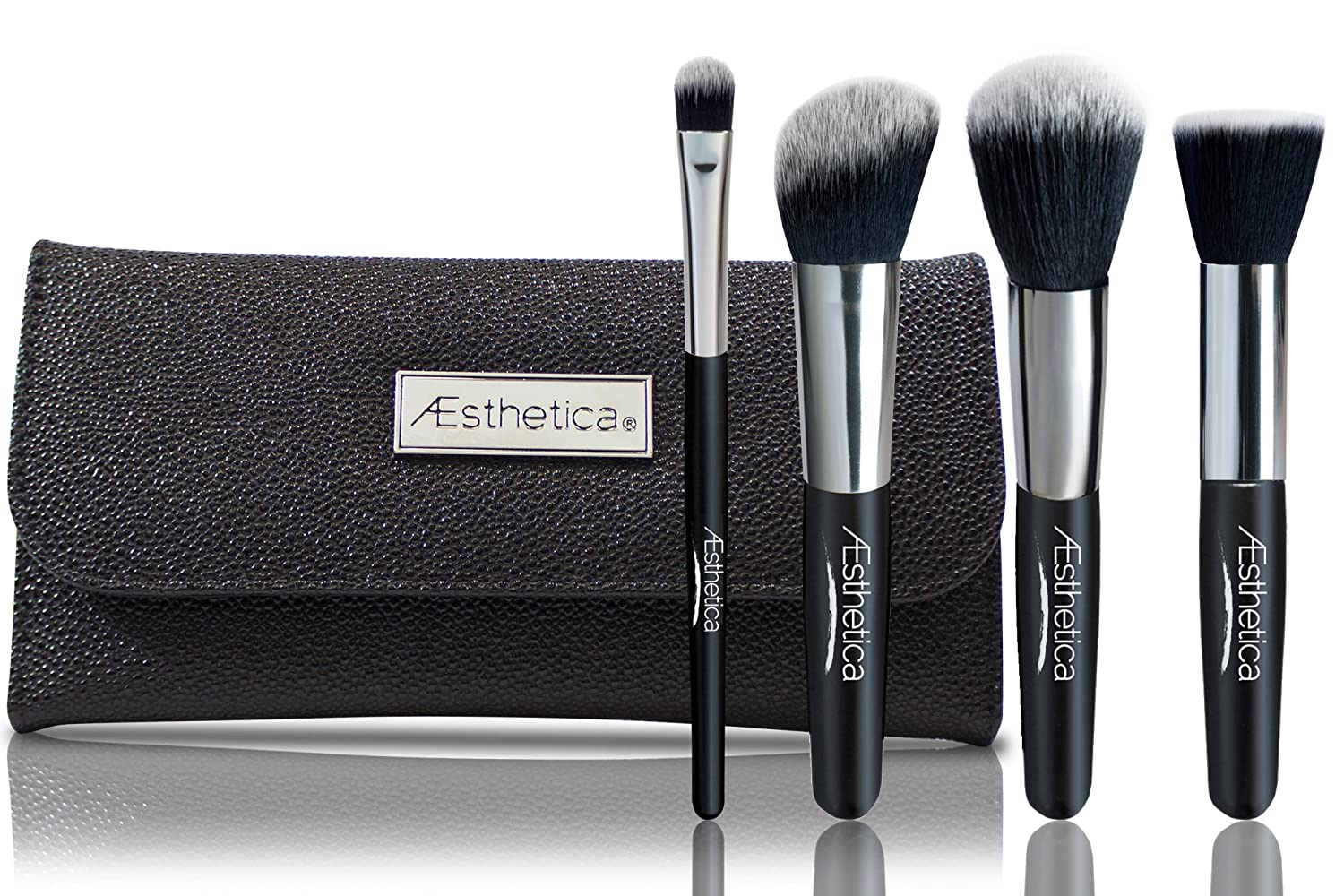 Aesthetica Cosmetics 4-Piece Premium Synthetic Contour and Highlight Makeup Brush Set for Powder, Foundation, Blending, Contouring and Highlighting Includes Carry Case- Vegan and Cruelty Free