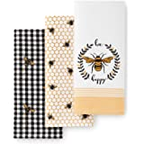 """Elrene Home Fashions Farmhouse Living Bee Happy Kitchen Towels, Set of 3, 18"""" x 28"""", Multi"""