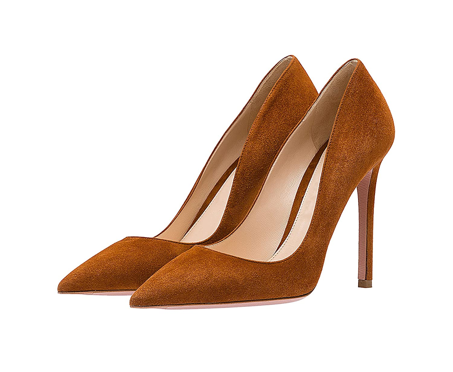 SexyPrey Women's Pointy Toe Stiletto Shoes Formal Office Evening Pumps B074M3XZ1Q 10.5 B(M) US Brown Suede