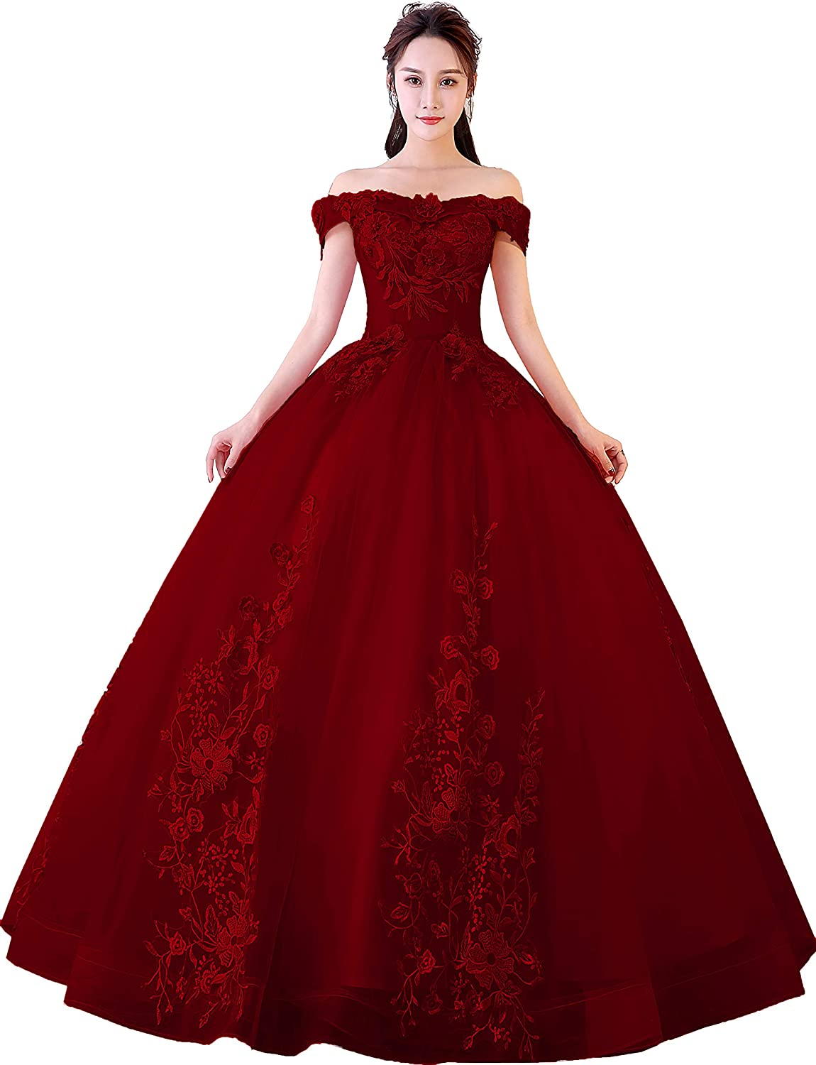 Burgundy Okaybrial Women's Sweet 16 Quinceanera Dresses bluesh Pink Off Shoulder Lace Long Prom Ball Gowns Plus Size