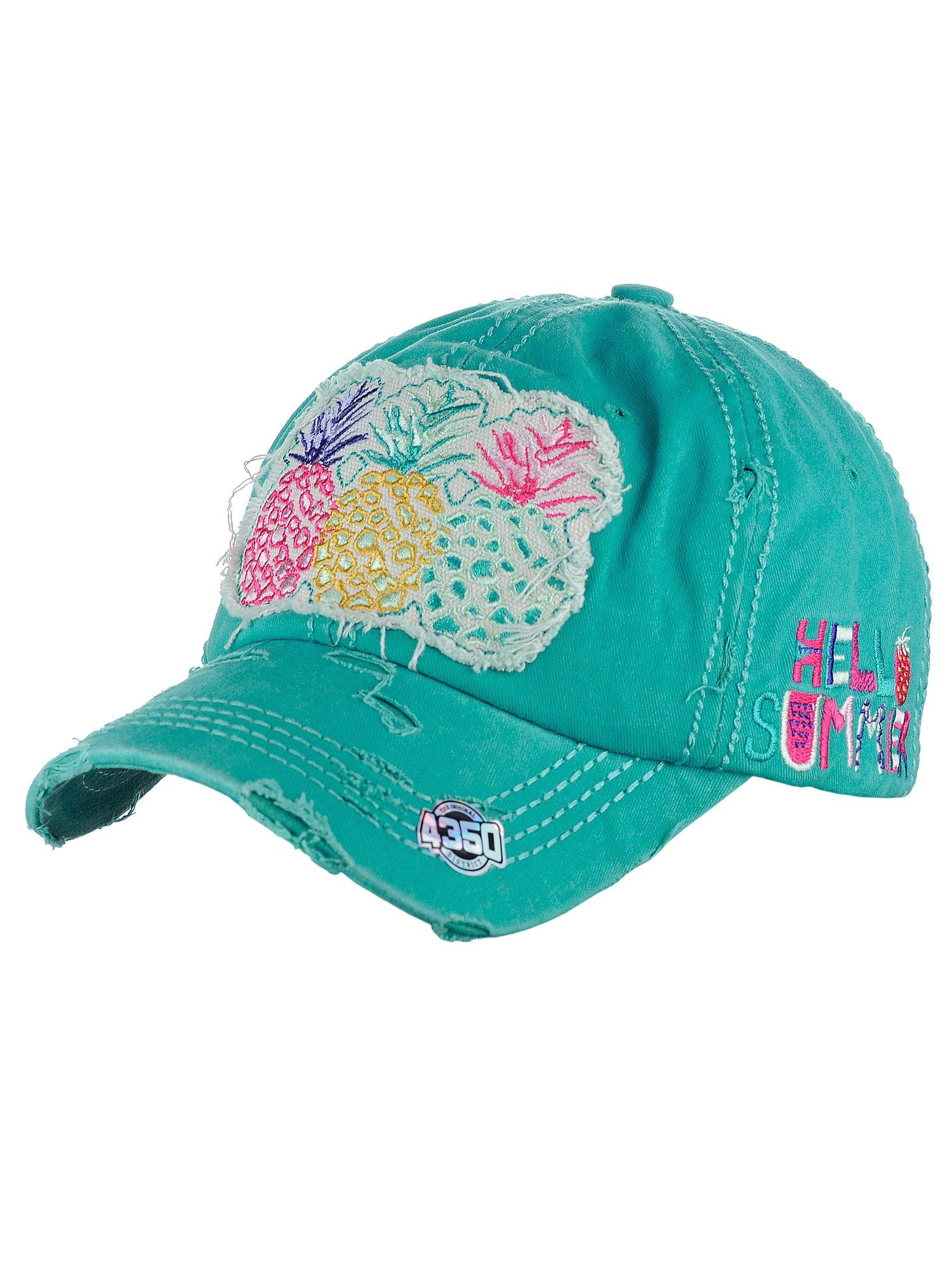 aa93dba8 NYFASHION101 Womens Baseball Cap Distressed Vintage Unconstructed  Embroidered Dad Hat, Pineapple, Turquoise