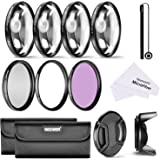 Neewer 55mm Lens Filter and Close-up Macro Kit for Sony Alpha Series A99 A58 A55 A100 DSLR Cameras, Includes Filter Kit (UV, CPL, FLD), Macro Close-Up Set, Pouch, Lens Hood, Lens Cap, Cleaning Cloth