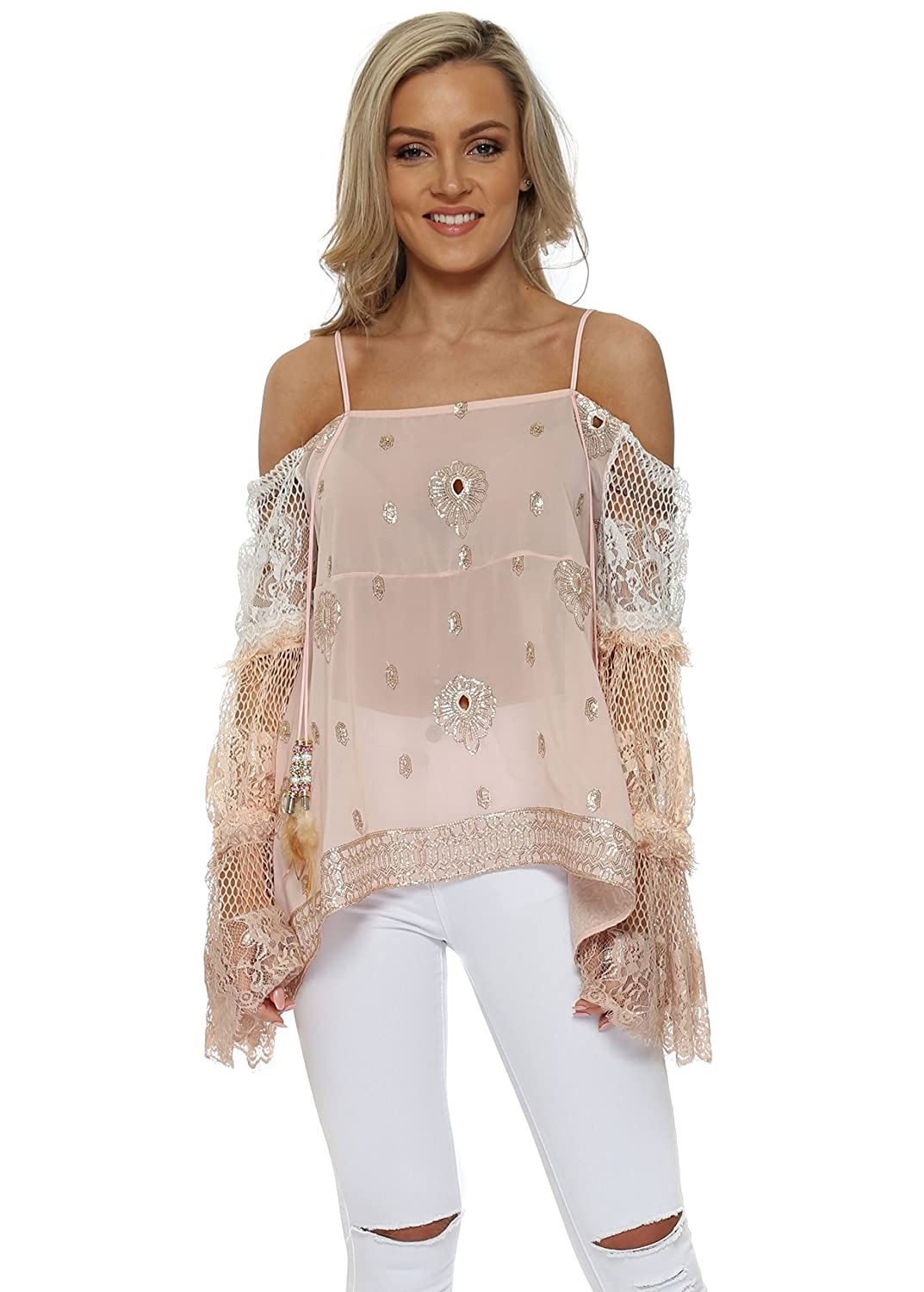 8770904174d23a Monaco Pink Sequins   Lace Cold Shoulder Top One Size Pink  Amazon.co.uk   Clothing