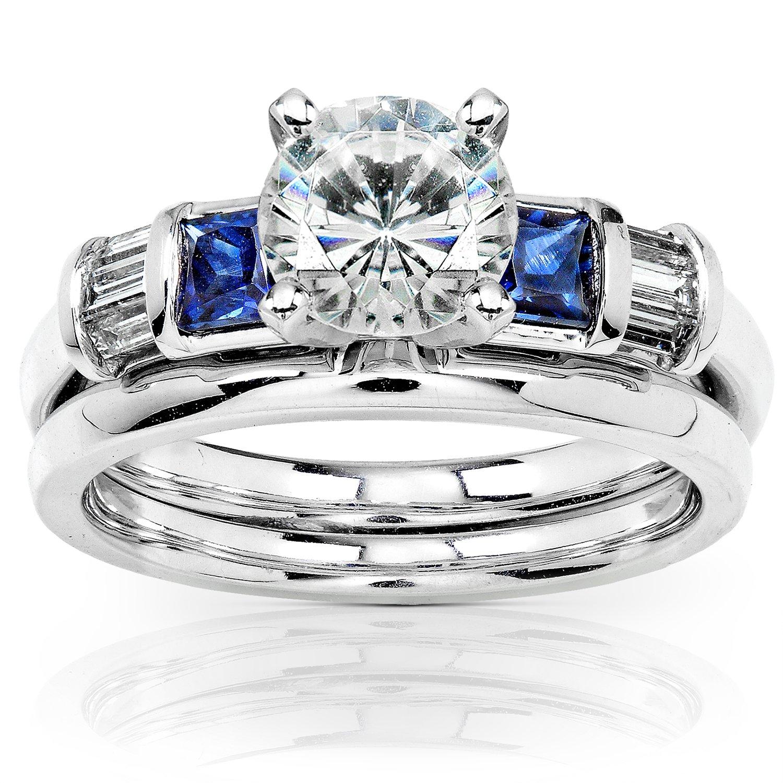 Round Moissanite Bridal Set with Sapphire and Diamond 2 CTW 14k White Gold