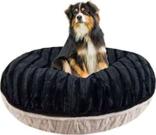 product image for BESSIE AND BARNIE Signature Black Puma/Natural Beauty Luxury Extra Plush Faux Fur Bagel Pet/Dog Bed (Multiple Sizes)
