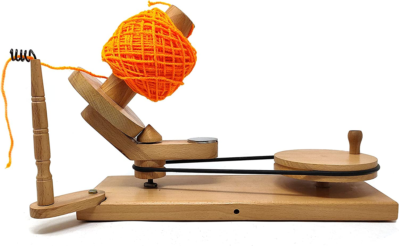 Globe Handicraft Wooden Yarn Ball Shift Umbrella /& Hand Operated Bobbon Winder Holder