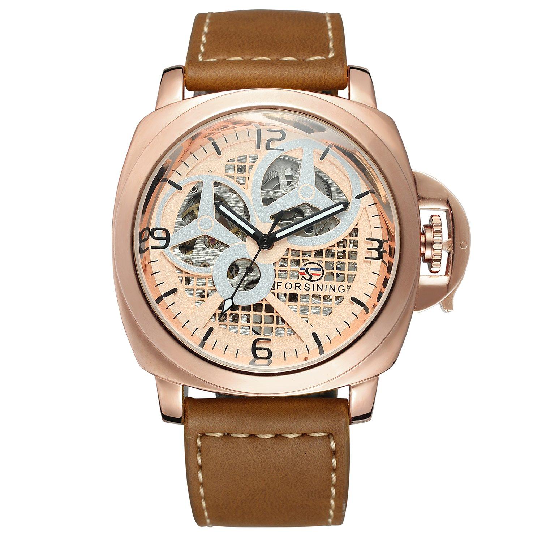 Forsining hombre marca de gama alta del Pulsera Banda de piel Classic automático para hombre esqueleto mecánico reloj de pulsera: Amazon.es: Relojes
