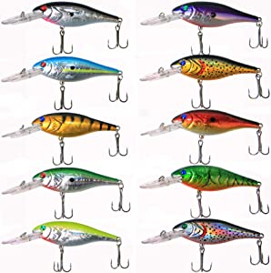 Salwater Fishing Lures Hard Baits Set, 3D Eyes Minnow Crankbaits Swimbaits Topwater Fishing Lures Kit for Bass Trout Walleye 10pcs