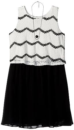 54237e46402d Amazon.com  Amy Byer Girls  Big Lace Popover Dress  Clothing