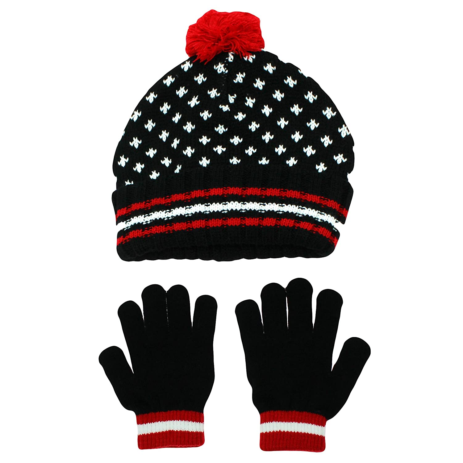 Nolan Boys Thermal Knit Beanie Cap and Glove Set Youth 4-16 Black Red