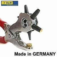 S&R Pinza fustellatrice Professionale / MADE IN GERMANY / Pinza a Fustella M 240 con 6 tubi di perforazione intercambiabili da 2 a 2,5 - 3 - 3,5 - 4 -5 mm