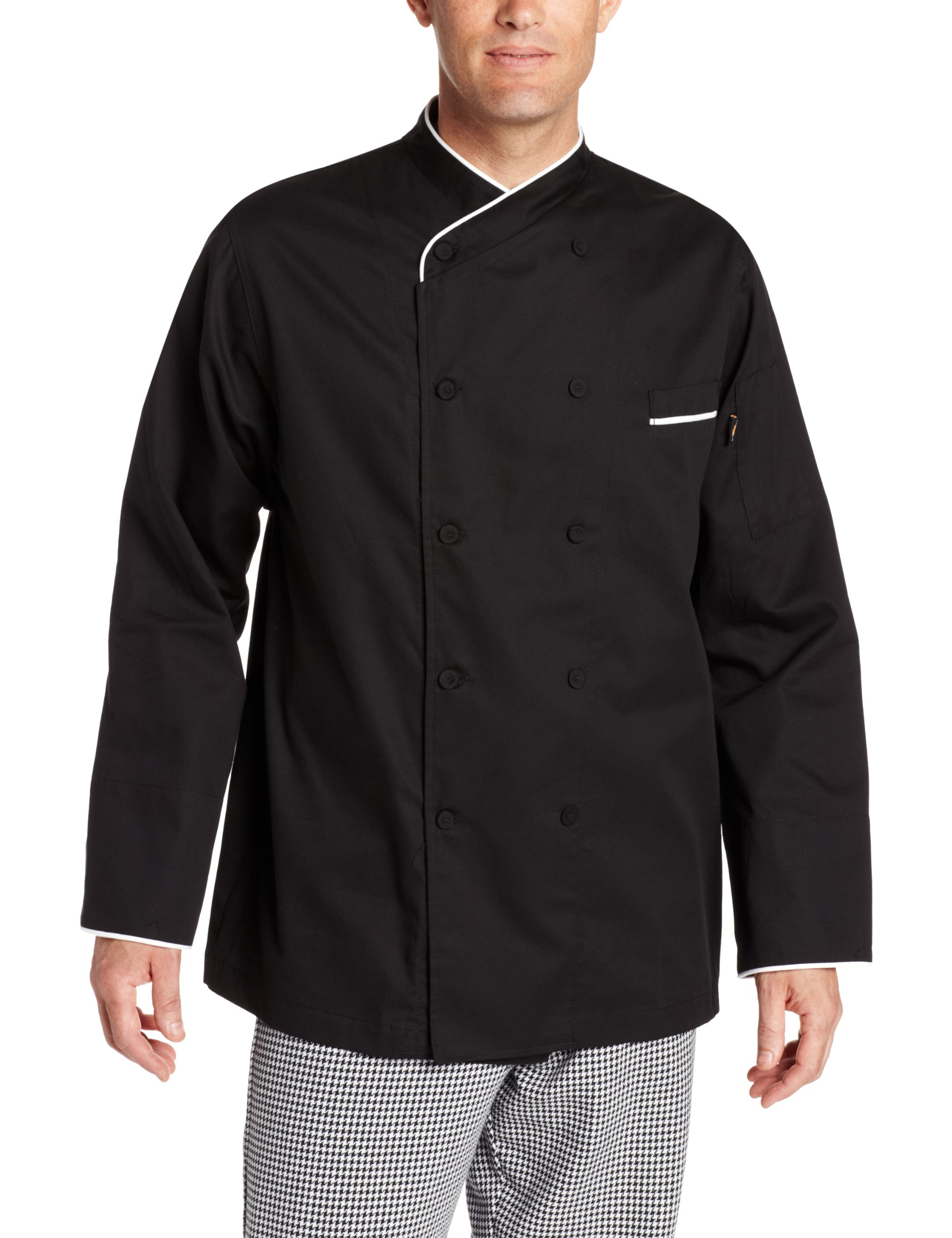 Dickies Men's Black Egyptian Cotton Chef Coat, Black, 3X-Large