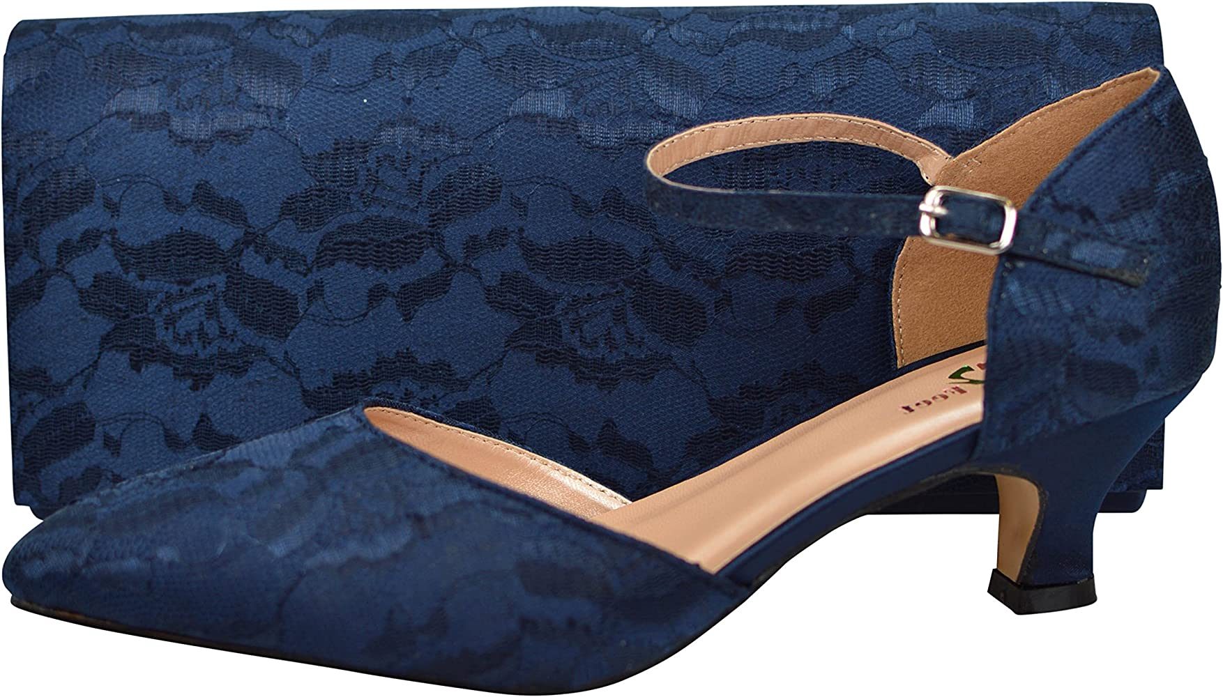 navy blue small heeled shoes good 3277f
