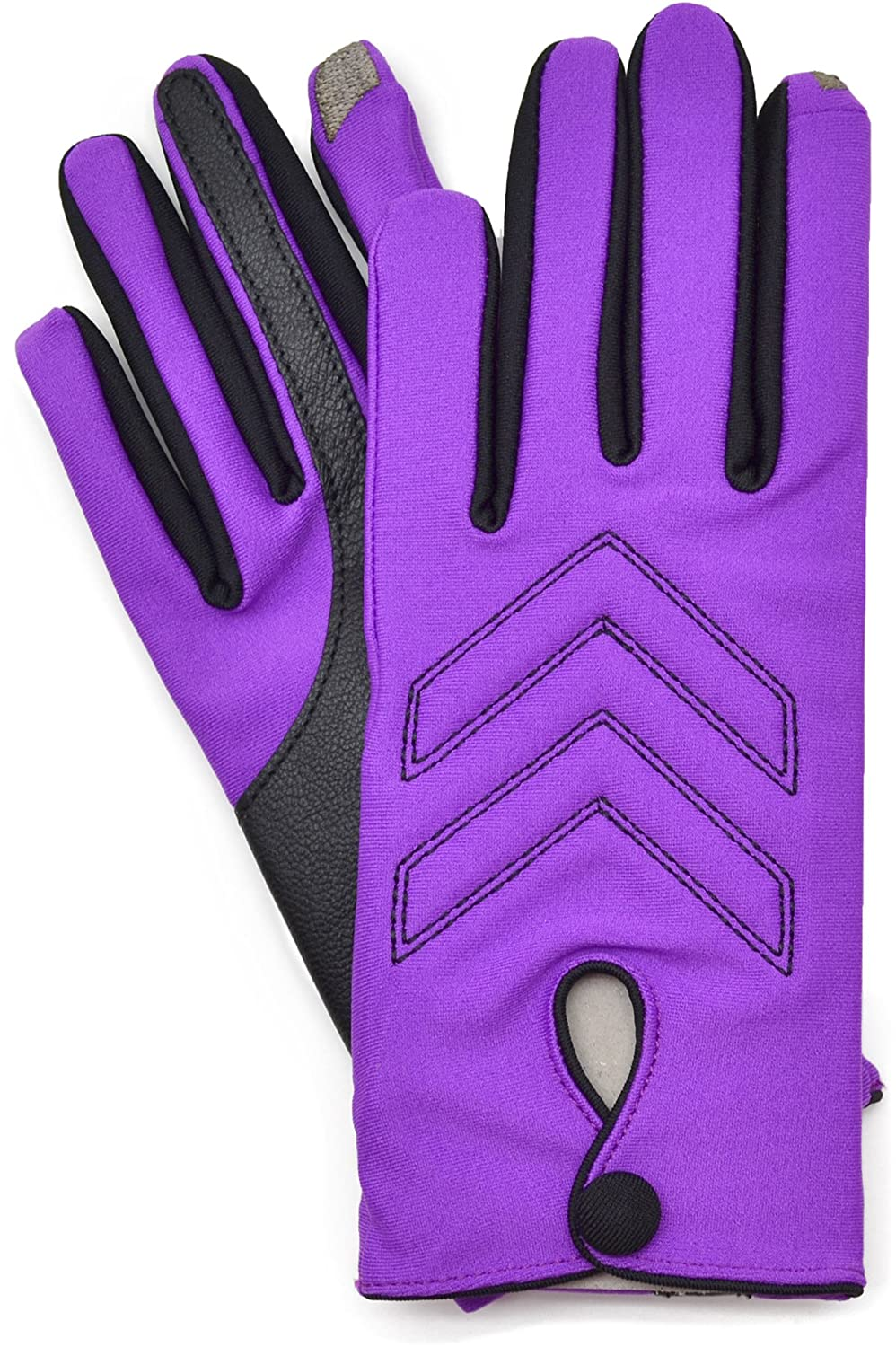 Isotoner Smartouch Touchscreen Isoflex Two Tone Gloves Black- Violet X-Large
