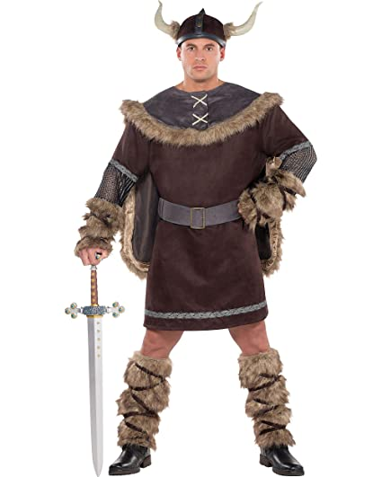 53e1f2ce5f6 Amscan AMSCAN Viking Warrior Halloween Costume for Men, Plus Size, with  Included Accessories