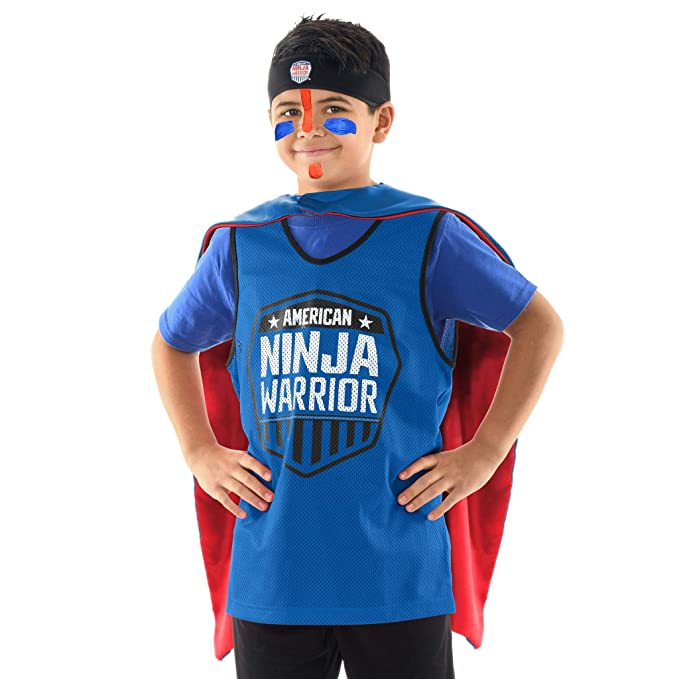 American Ninja Warrior Kids Role Play Set – Deluxe Version - Headband, Blue Jersey, Face Paint, Reversible Cape