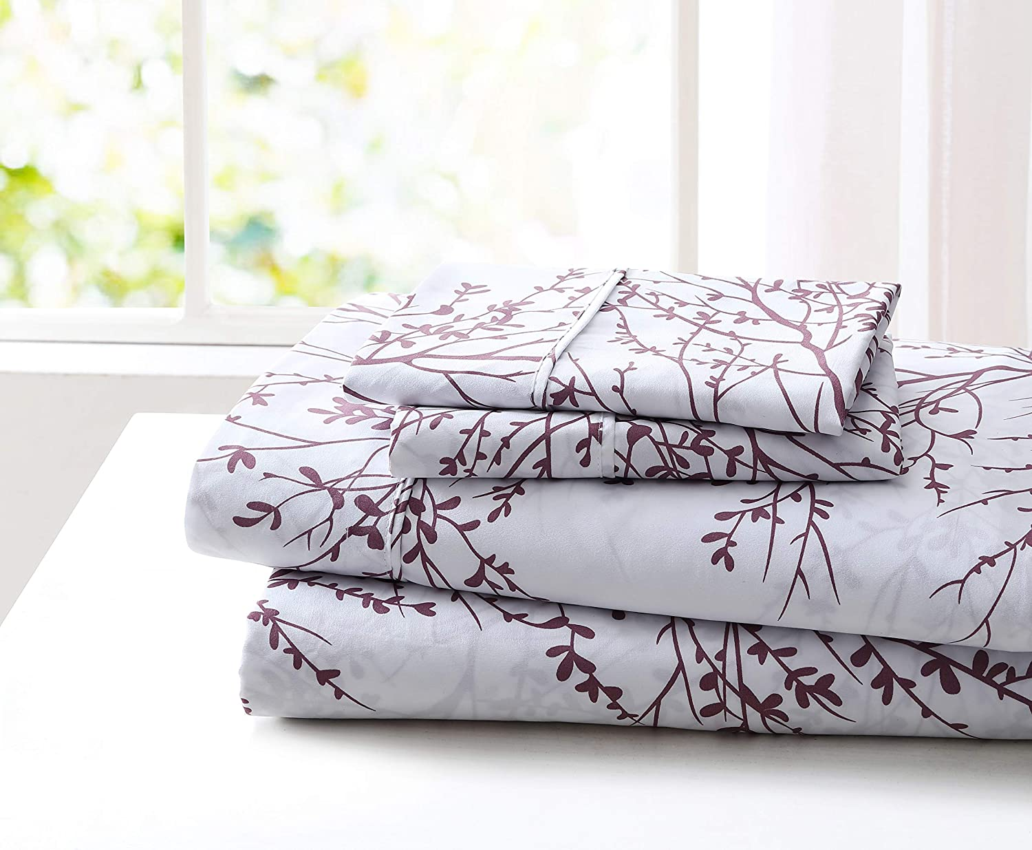 Spirit Linen Home 3pc Bed Sheet Set Printed Beautiful Foliage Design 1800 Bedding Soft Microfiber Sheet with Fitted Sheet and Pillowcases ( Twin, White Lilac)
