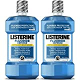 Listerine Fluoride Defense Anticavity Mouthwash For Bad Breath, Mint Shield, 1 L - 2 Bottles