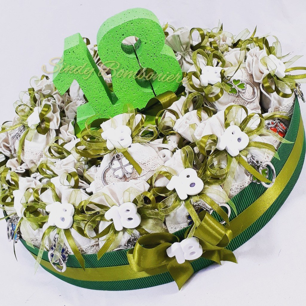 venta con descuento Cesto Completo (40 Sacchetti) Cesta de 40 bolsas de algodón algodón algodón con llavero trébol amuleto para evento 18 cumpleaños  tienda en linea