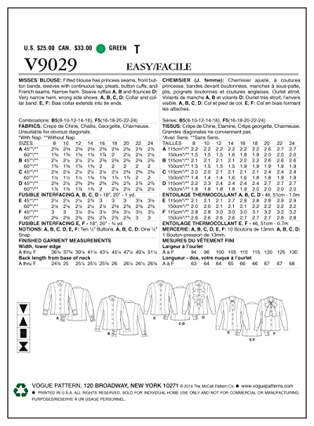 Vogue Patterns V9029 Misses Blouse Sewing Template, Size B5 (8-10-12-14-16)