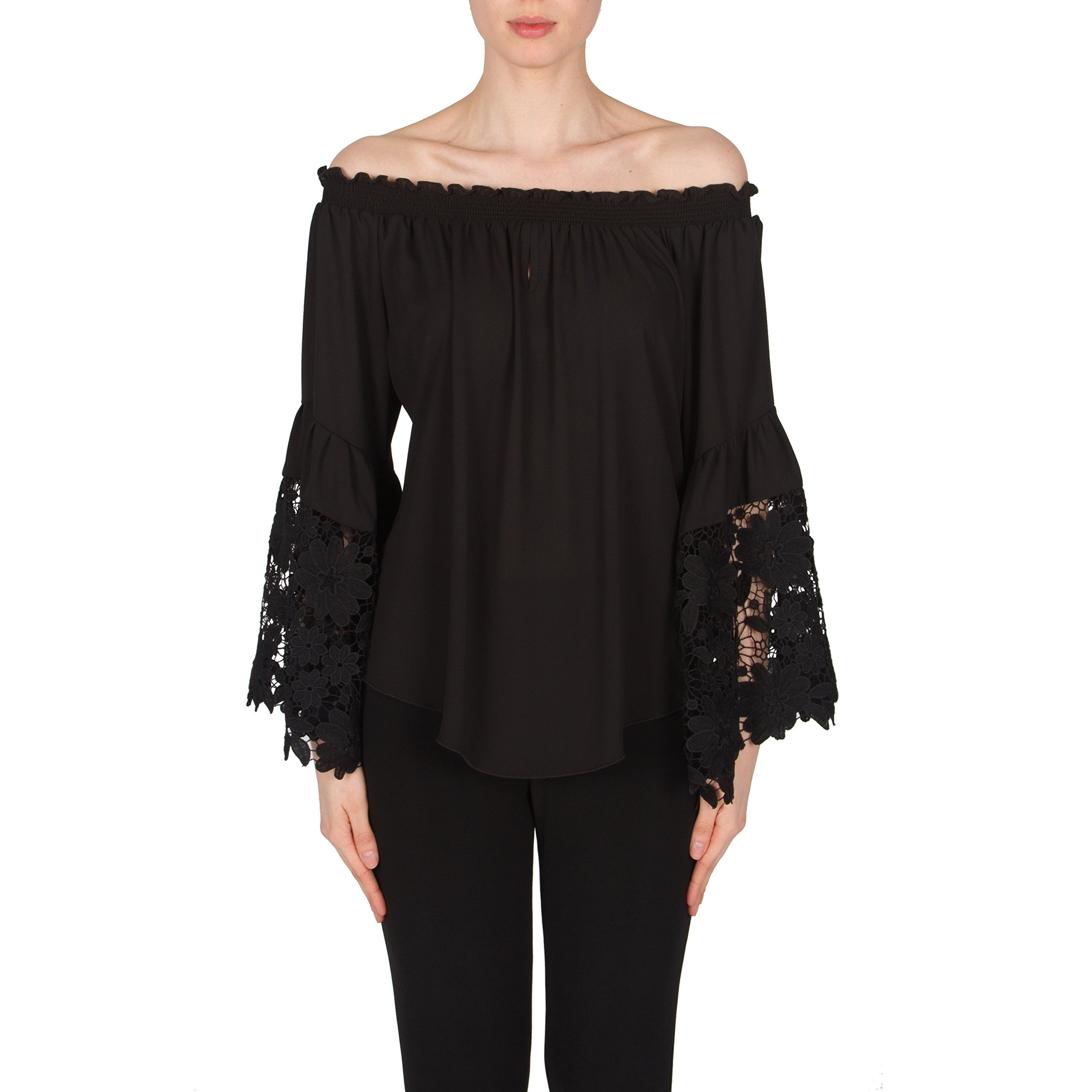 Joseph Ribkoff Black On/Off Shoulder Lace Bell Sleeve Top Style 173286 - Size 4 by Joseph Ribkoff