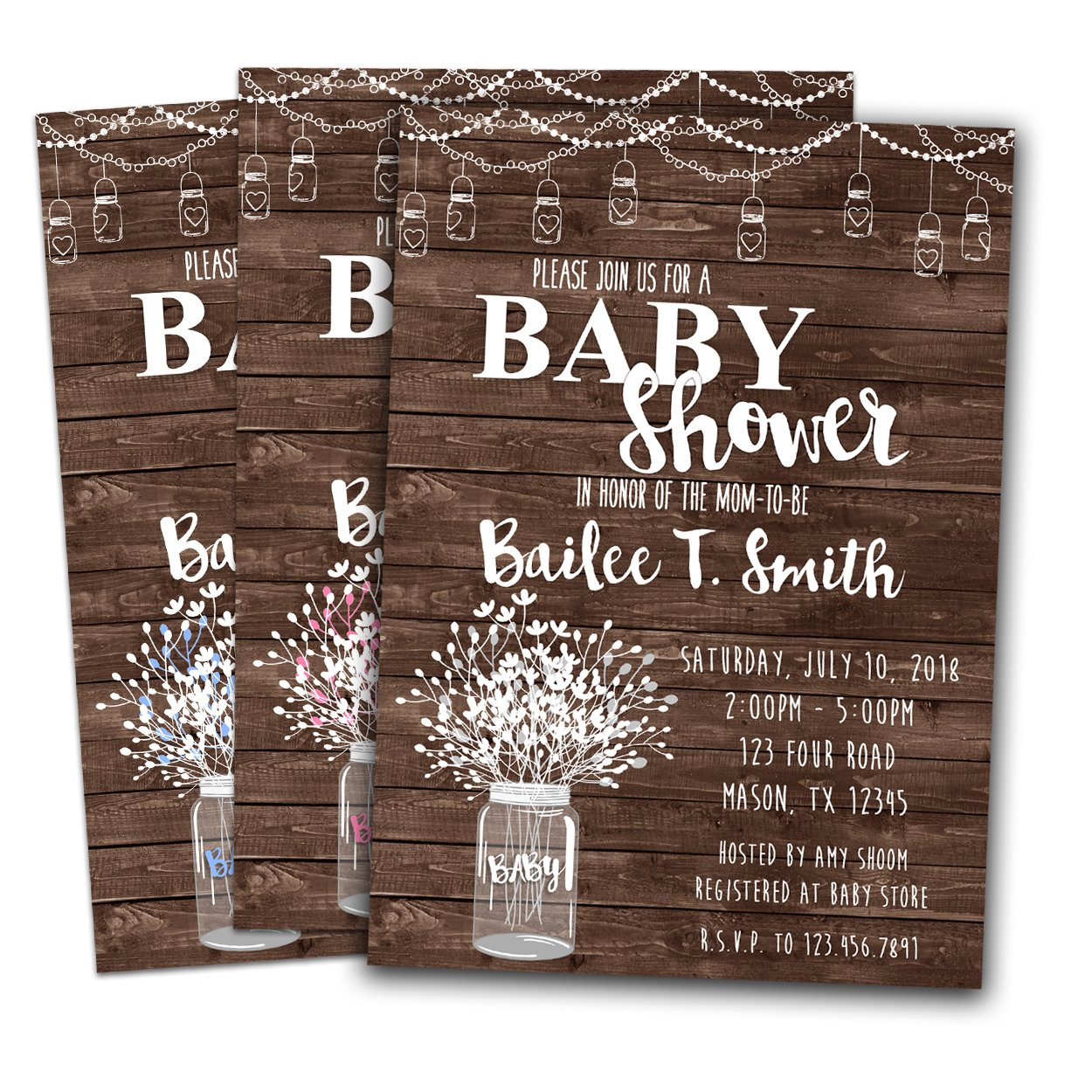 Amazon Country Baby Shower Invitations Rustic Wood Mason Jar