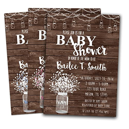 amazon com country baby shower invitations rustic wood mason jar