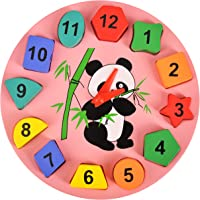 Trinkets & More™ - Geometric Shape Sorter Clock   Panda Themed Wooden Puzzle   Early Education Toys Kids 3+ Years