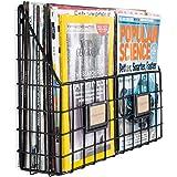 Wall35 Rivista 2 Compartment Multipurpose Wall Mounted Farmhouse Design Basket - Wide Magazine Rack Metal Wire (Black)