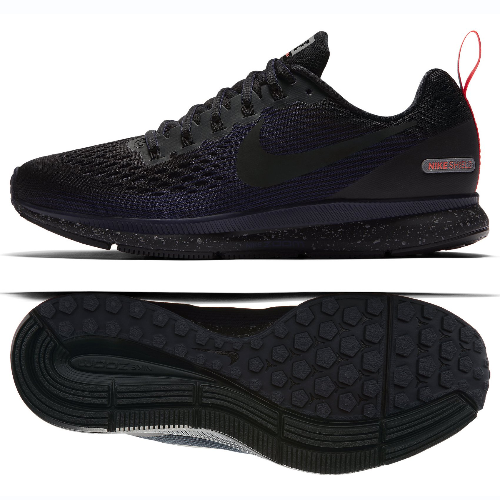 premium selection fed8f 6a86a Nike Women's Air Zoom Pegasus 34 Running Shield Shoe  Black/Black-Black-Obsidian 6.5