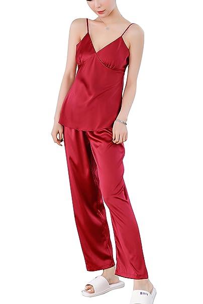 Dolamen Pijamas Camisón para mujer, Mujer largo Camisones raso Satin Pijamas, lencería Spaghetti Strap