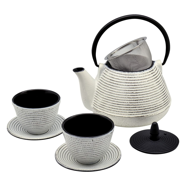 Argon Tableware Japanese Tetsubin Cast Iron Hobnail Teapot/Cups & Saucers Set - 1L (1000ml)